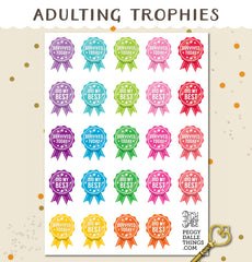 Adulting Trophies Planner Stickers