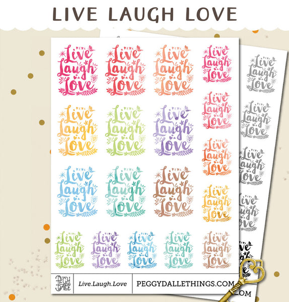 Live Laugh Love Watercolour Planner Stickers