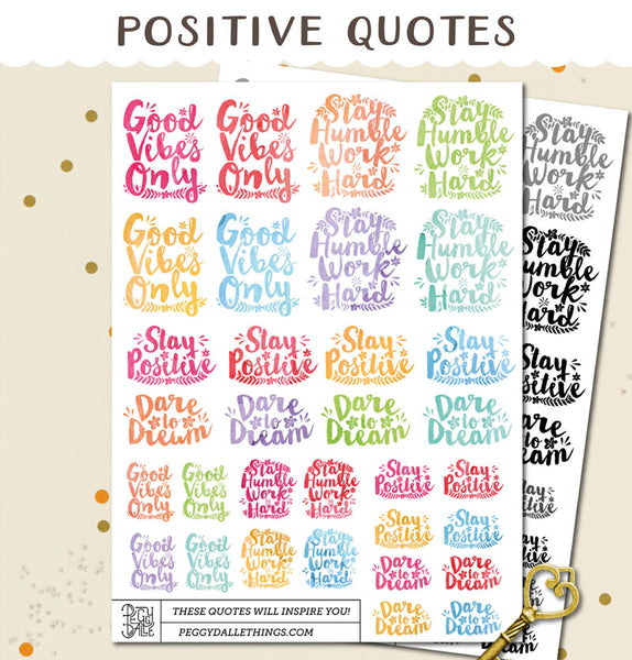 Positive Quotes Watercolour Planner Stickers