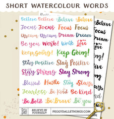 Short Watercolour Inspirational Planner Stickers