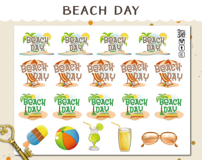 Beach Day Planner Stickers