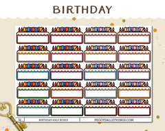 Birthday Half Boxes Planner Stickers
