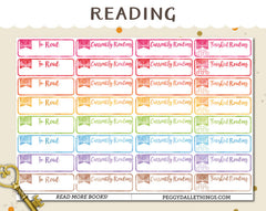 Watercolur Reading Planner Stickers