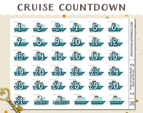 Cruise Ship Countdown Planner Stickers