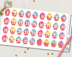 Watercolour Cupcake Numbers Countdown Planner Stickers