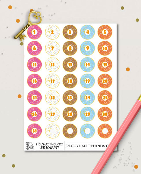 Donuts Numbers Countdown Planner Stickers