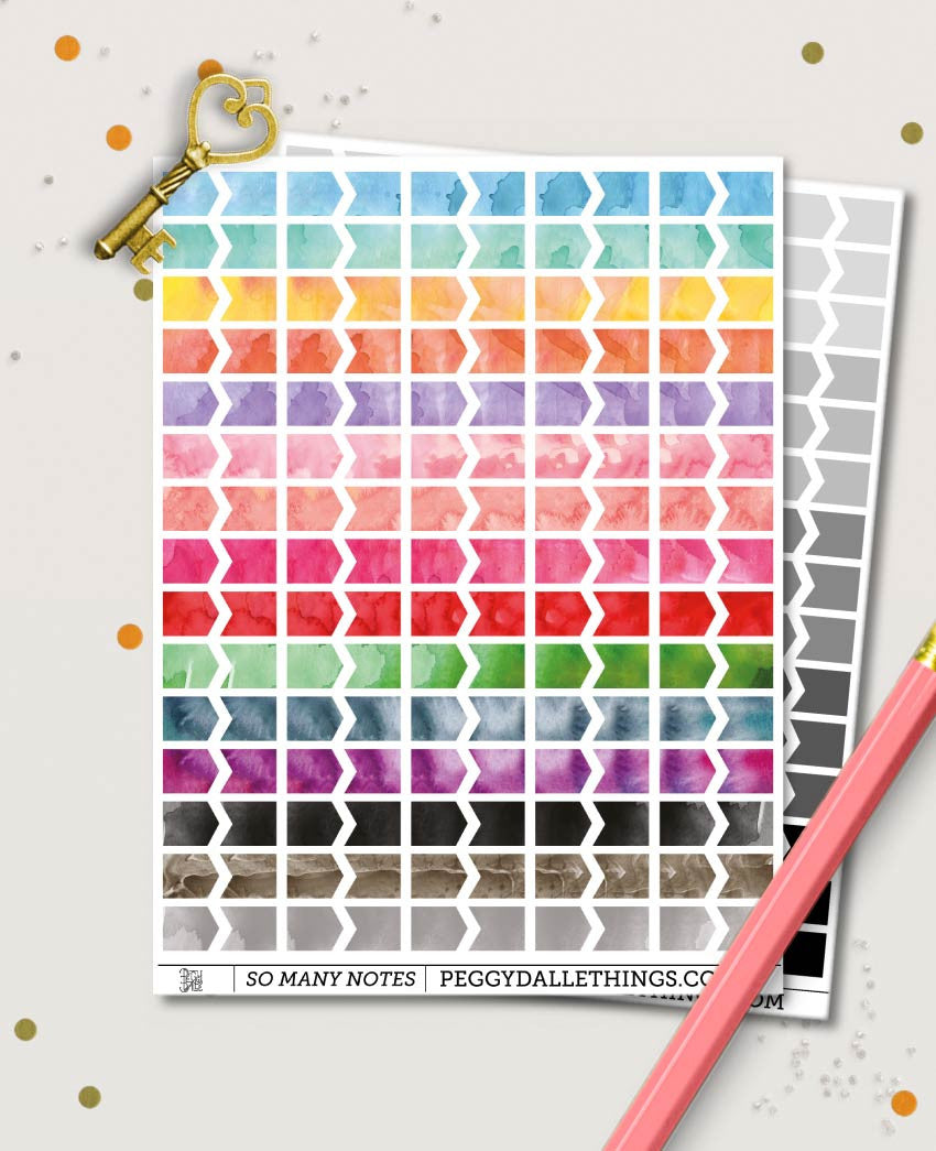 Watercolour Mini Flags Shape Mini Icons Planner Stickers | Bullet Journal Compatible