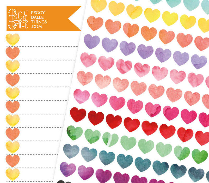Watercolour Mini Hearts Planner Stickers | Bullet Journal Compatible