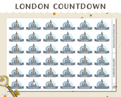 London Travel Countdown Planner Stickers