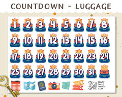 Luggage Travel Countdown Planner Stickers