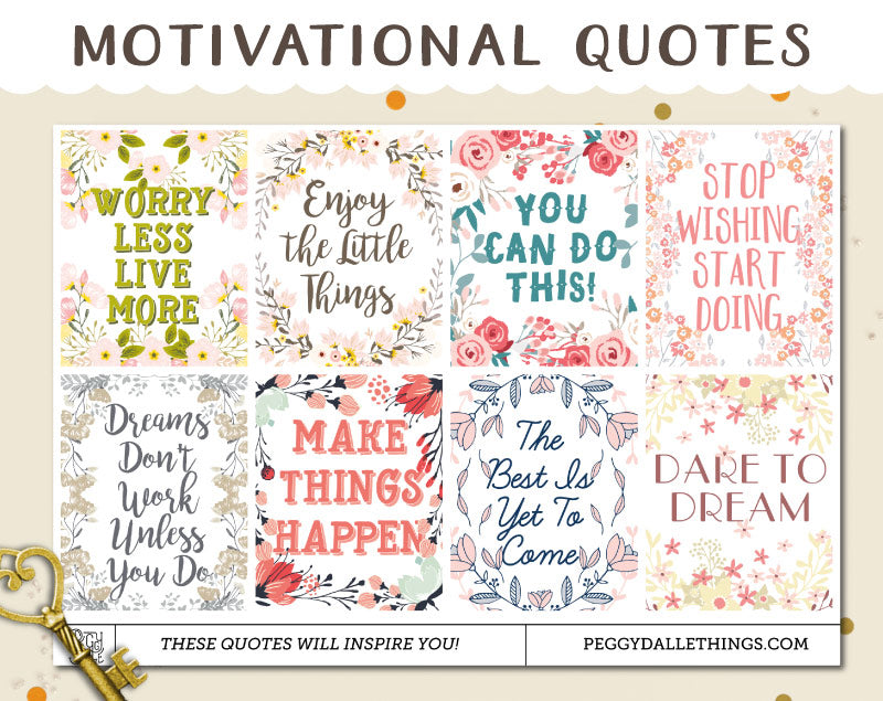 Full Boxes Motivational Quotes Planner Stickers
