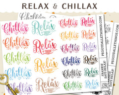 Relax Chillax Watercolour Planner Stickers