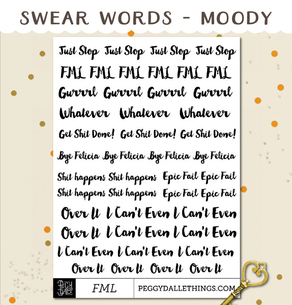 Funny Sassy Swear Words Planner Stickers
