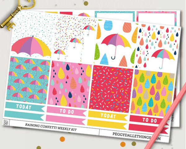Raining Confetti ECLP Horizontal Weekly Kit Planner Stickers