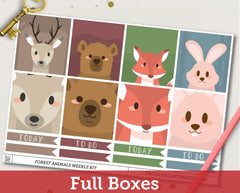 Forest Animals ECLP Horizontal Weekly Kit Planner Stickers