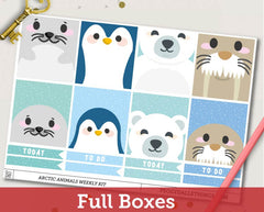 Arctic Animals ECLP Horizontal Weekly Kit Planner Stickers