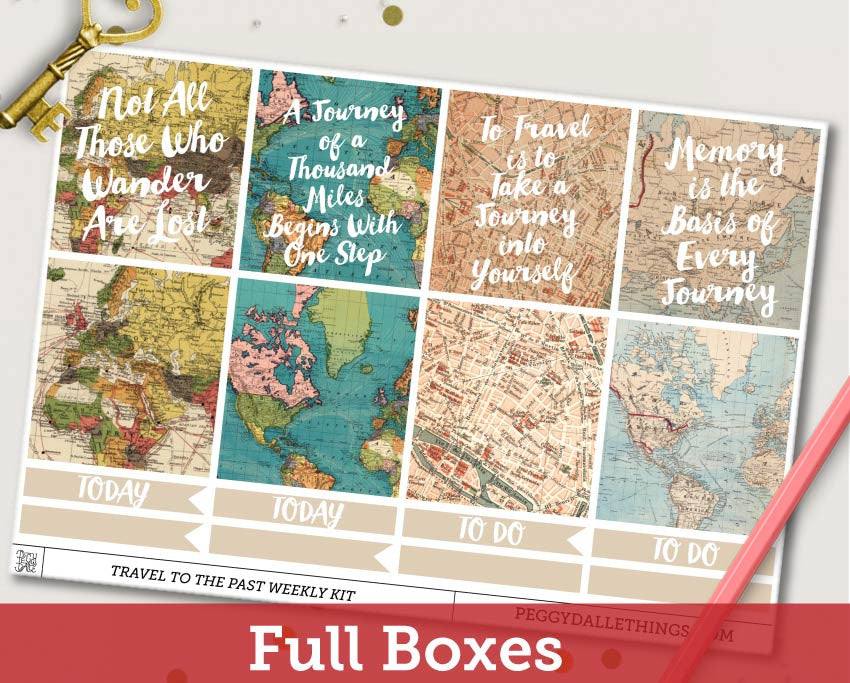 Travel to the Past ECLP Horizontal Weekly Kit Planner Stickers