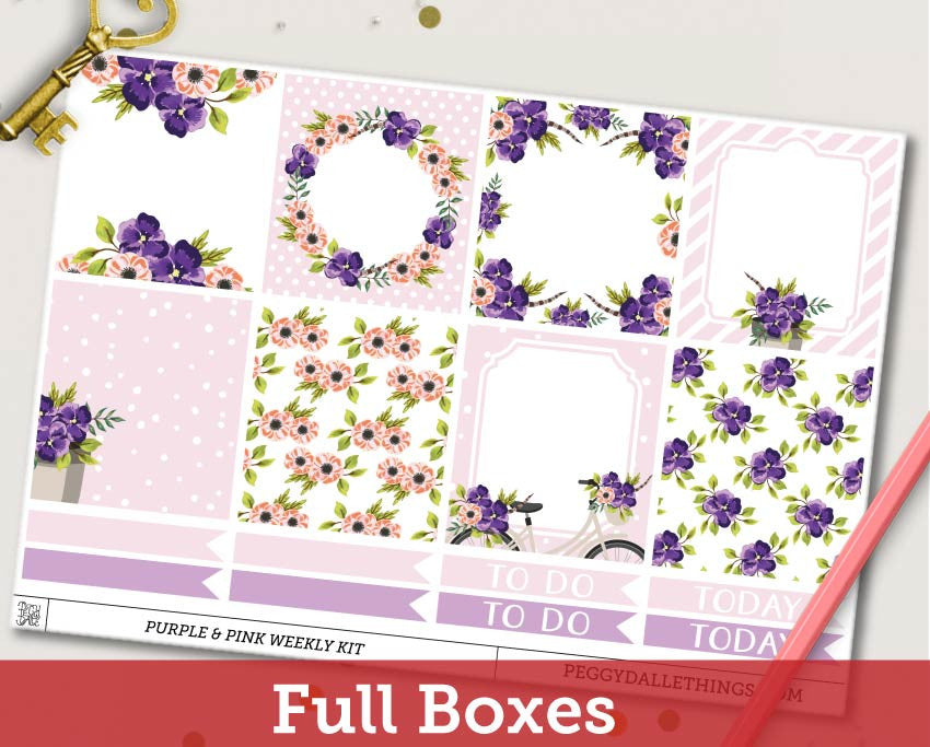 Purple & Pink Floral ECLP Horizontal Weekly Kit Planner Stickers