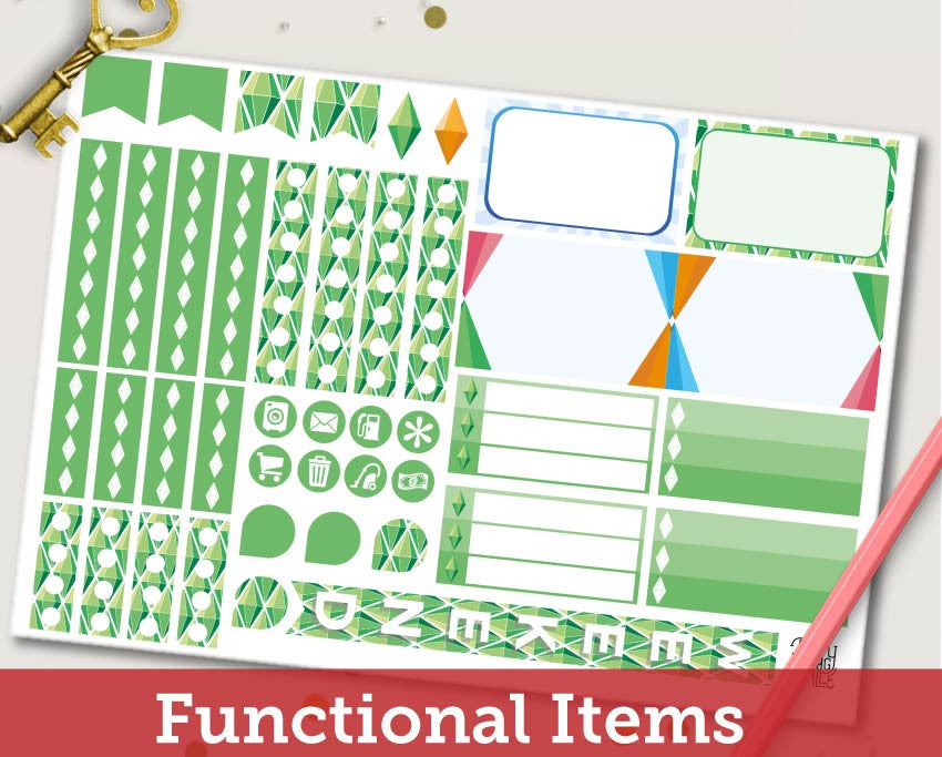 The Sims ECLP Horizontal Weekly Kit Planner Stickers