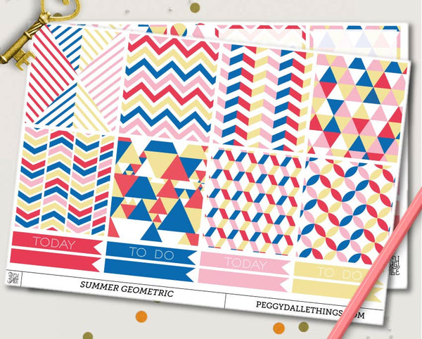 Summer Geometric ECLP Horizontal Weekly Kit Planner Stickers