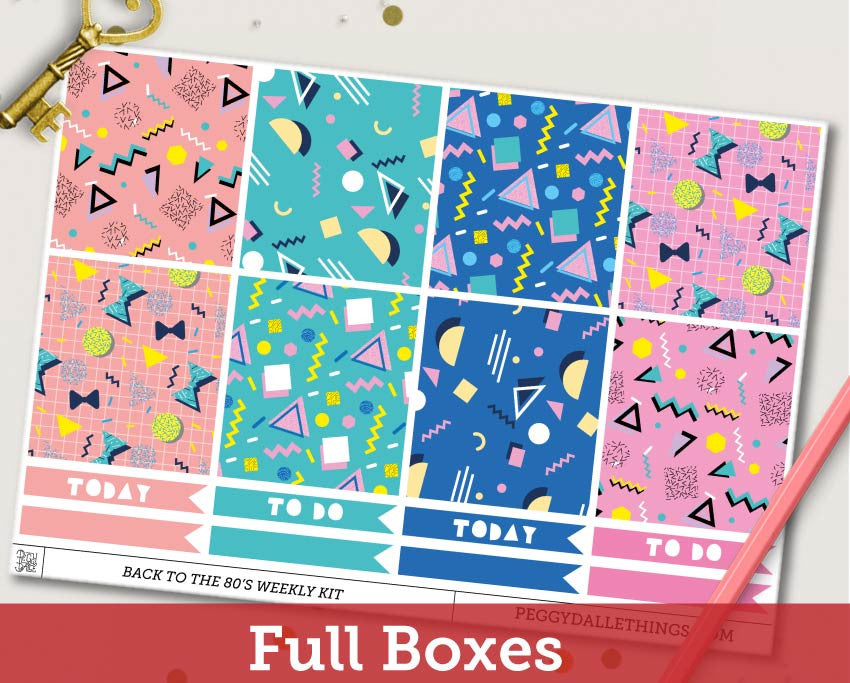 Back to the 80's ECLP Horizontal Weekly Kit Planner Stickers