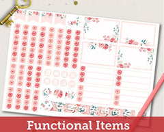 Spring Floral ECLP Horizontal Weekly Kit Planner Stickers