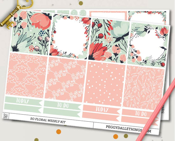 So Floral ECLP Horizontal Weekly Kit Planner Stickers