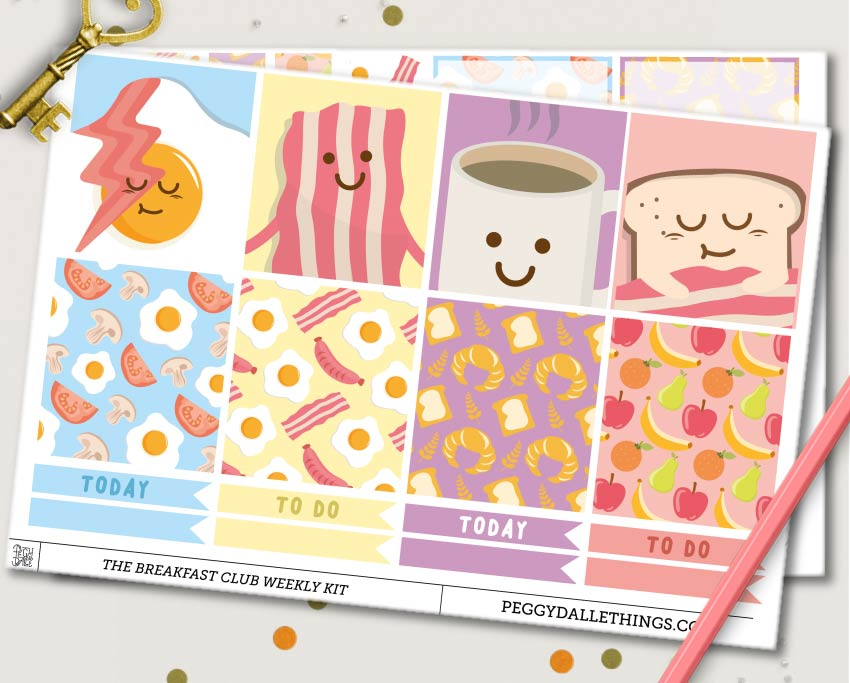 The Breakfast Club ECLP Horizontal Weekly Kit Planner Stickers