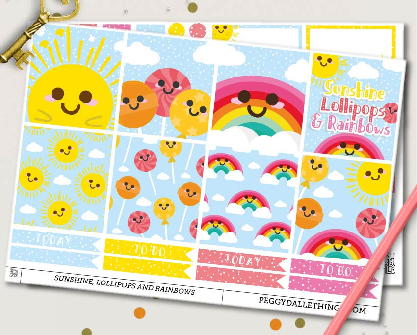Sunshine Lollipops and Rainbows ECLP Horizontal Weekly Kit Planner Stickers
