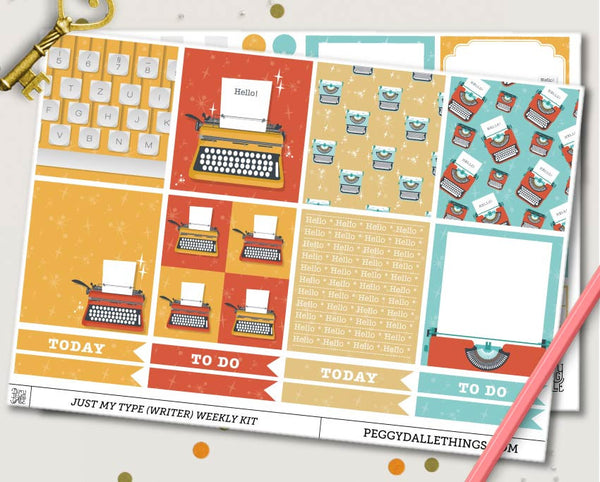 Just My Typewriter ECLP Horizontal Weekly Kit Planner Stickers
