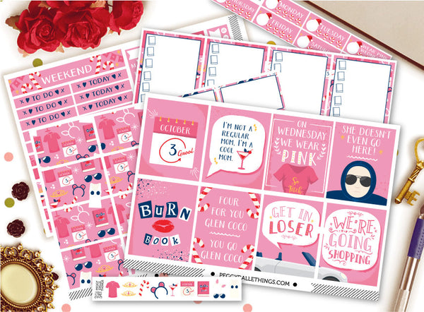 So Fetch Mean Girls Vertical Weekly Kit Planner Stickers