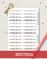Pay Day Words Header Planner Stickers