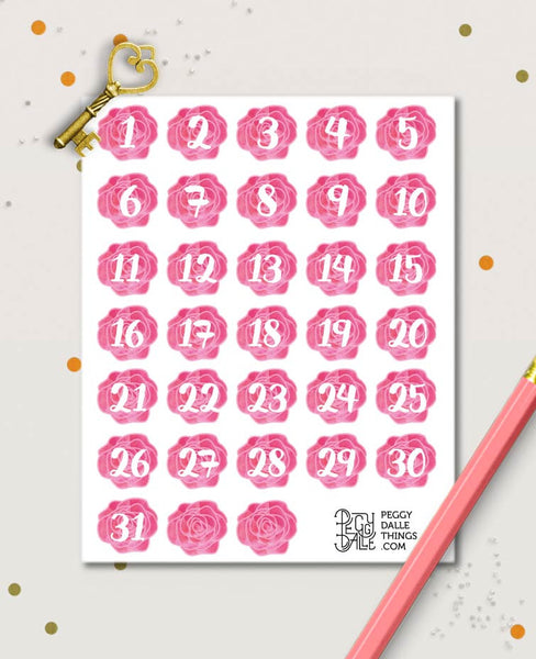 Flowers Numbers Countdown Planner Stickers