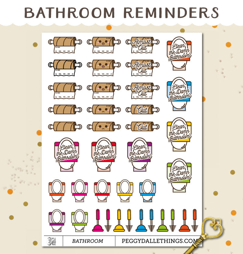 Toilet Cleaning Reminders Planner Stickers