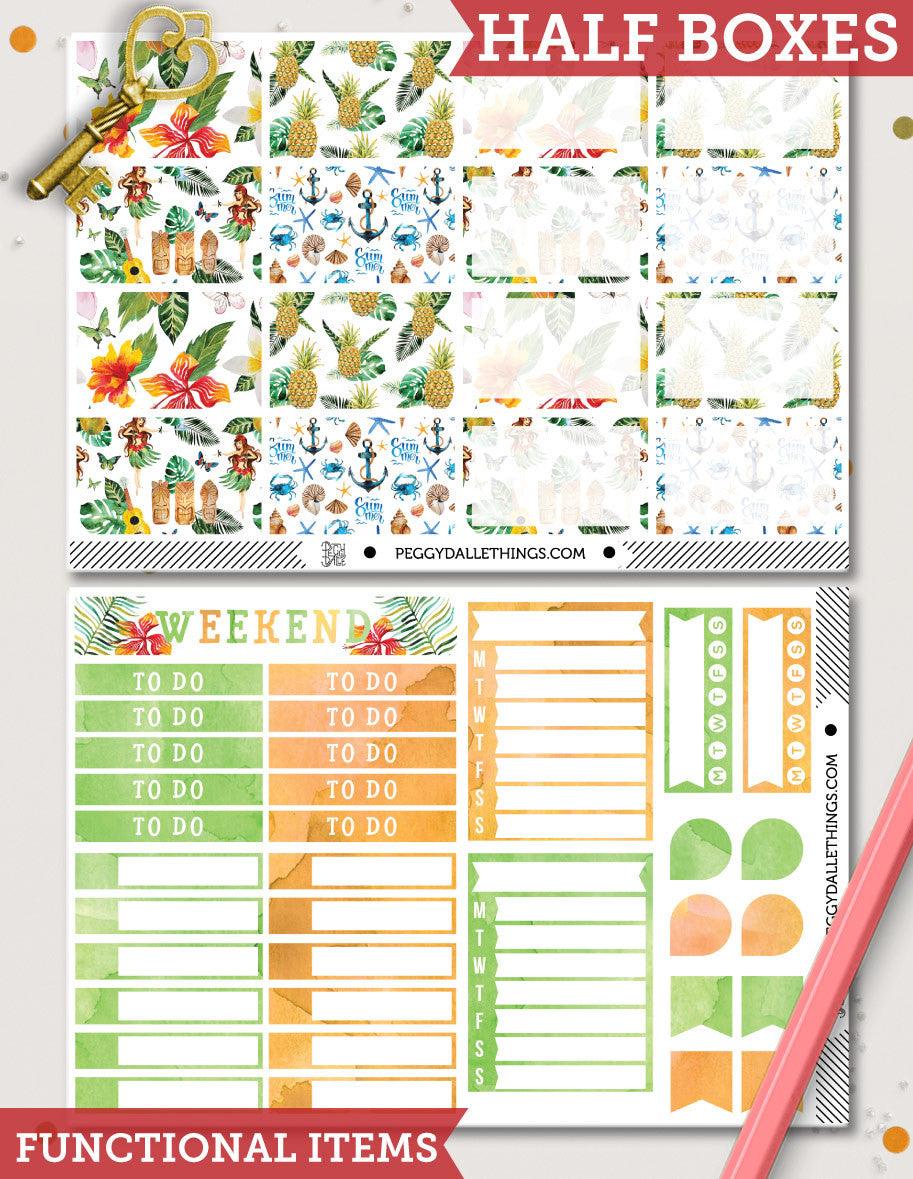 Hello HawaYou ECLP Vertical Weekly Kit Planner Stickers