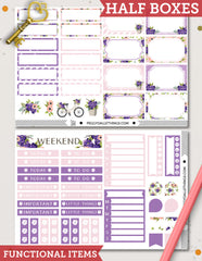 Purple & Pink Floral ECLP Vertical Weekly Kit Planner Stickers
