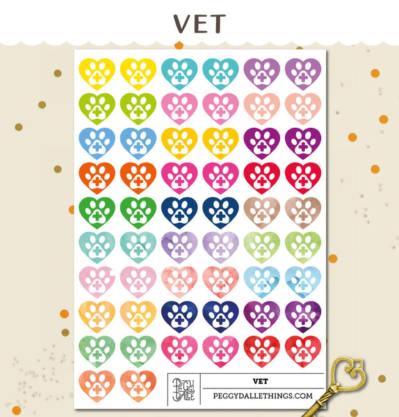 Watercolour Pet Vet Planner Stickers