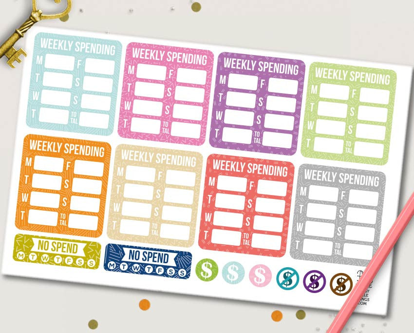 Weekly Spending Planner Stickers | ECLP & MAMBI Compatiable