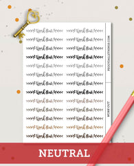 Work Out Words Header Planner Stickers