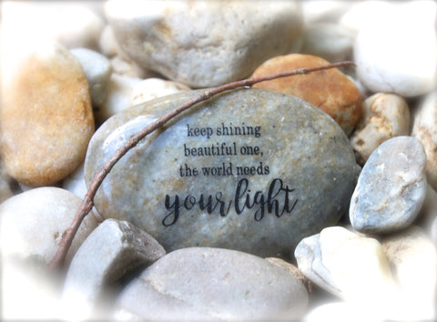 Inspirational Quote Engraved Rock Thinking Of You Gift Karmic Stones
