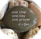 One Step One Day One Prayer At A Time ~ Engraved Inspirational Rock