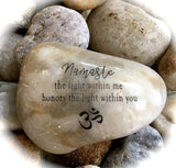 Namaste, The Light Within Me Honors The Light Within You ~ Engraved Inspirational Rock
