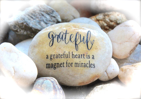 Grateful Heart Engraved Rock Inspirational Message