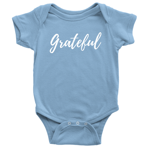 """Grateful"" Baby Bodysuit (white letters)"