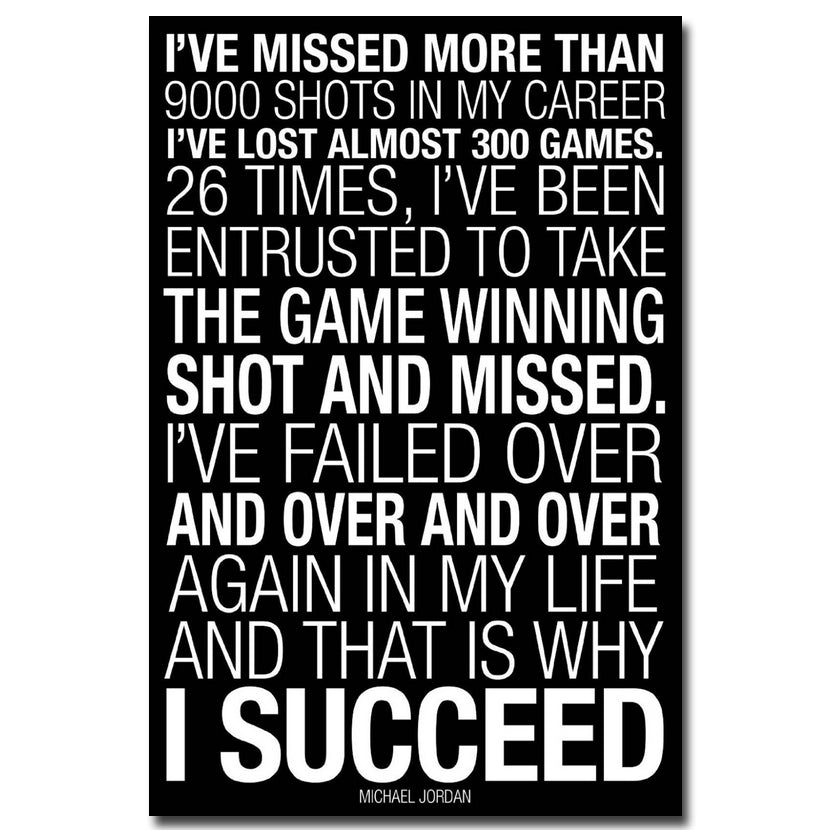 Motivational Quotes Michael Jordan Why I Succeed Poster Print