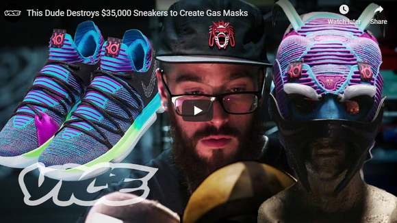 This Dude Destroys $35,000 Sneakers to Create Gas Masks
