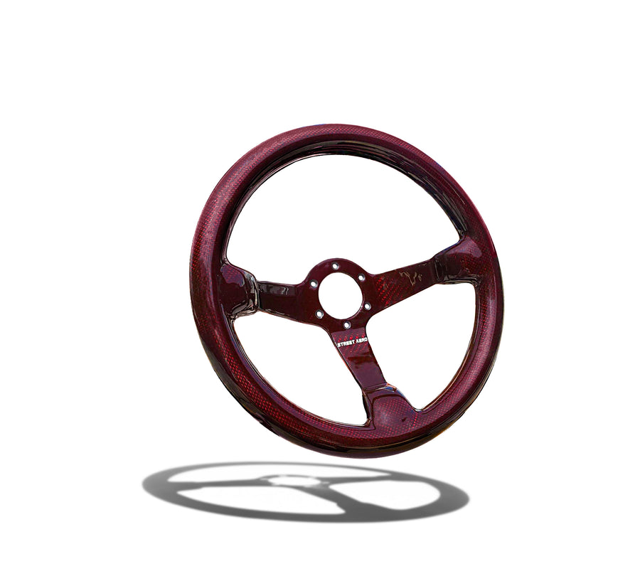Crimson Carbon Fiber Steering Wheel