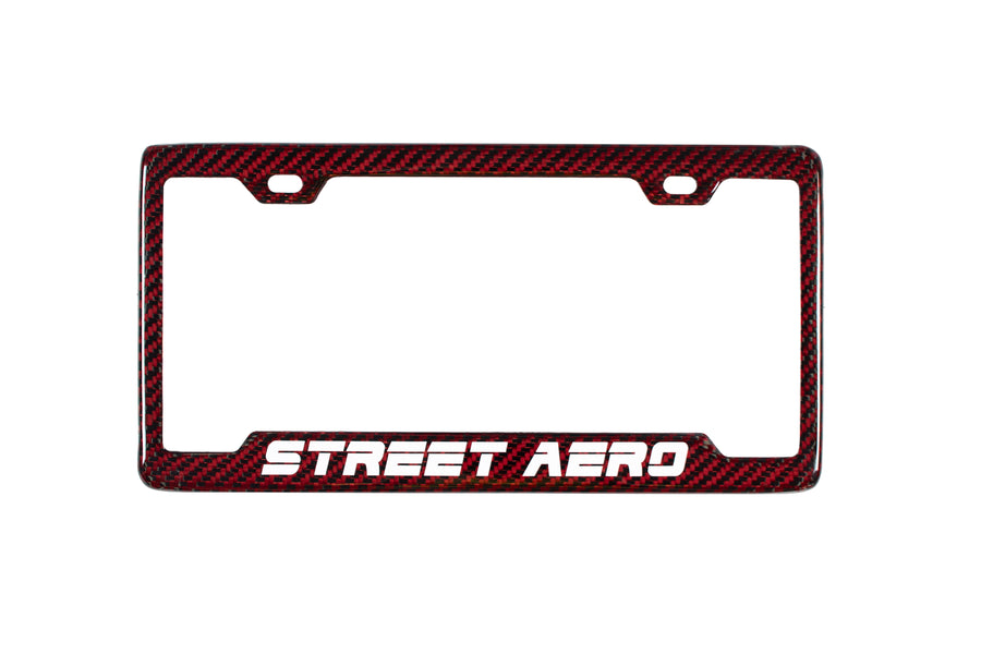 Street Aero's 100% Real Carbon Fiber License Plate Frame (Red)