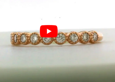Bezel Milgrain Diamond Wedding Band 0.35 ct tw Round-cut 14K Rose Gold BAN016 - NorthandSouthJewelry