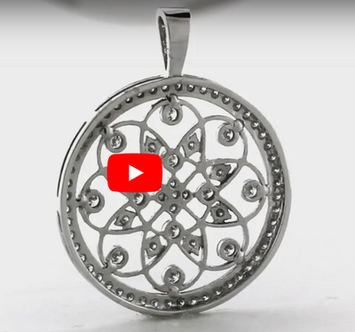Floral Diamond Pendant 1 CT TW 14K White Gold DPEN006 - NorthandSouthJewelry